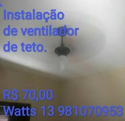 Instalação de ventilador de teto profissional