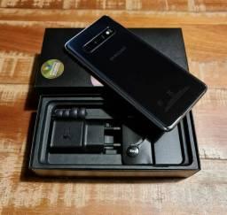 Samsung S10 128gb preto pagto cartão 4x sem juros completo nota aceito celular como pagto