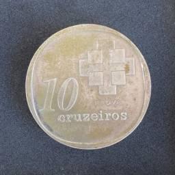 Moeda Prova 10 Cruzeiros 1975 Reverso Invertido Castellinho