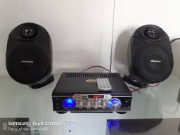 Amplificador com Bluetooth/controle /caixas