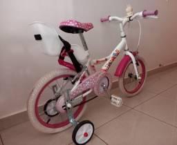 Bicicleta aro 16 p/ menina de 4 a 8 anos cor rosa