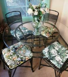 Mesa redonda de ferro galvanizado com tempo de vidro bizotado redondo bizotado 4 cadeiras
