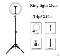 Ring ligth 26cm + tripé 2.10m