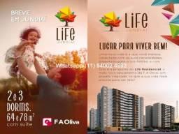 Life Jundiai , lançamento 64 e 78m², financiamento direto com a construtora