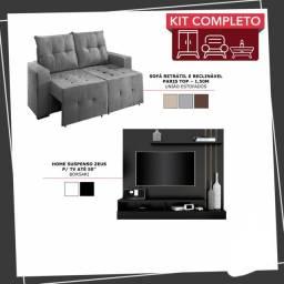 Kit Home Suspenso Zeus p/ TV até 50? + Sofá Retrátil e Reclinável Paris Top ? 1,50m