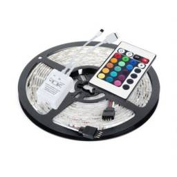 Fita de LED rgb smd5050 12v Ip20 7,8w/m Rolo 5m Kit completa