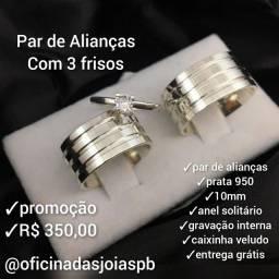 Par de alianças em prata 950 10mm