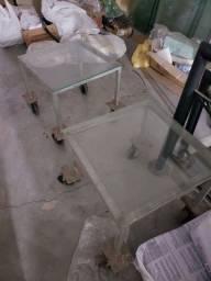 Conjunto 2 mesas de ferro + tampo de vidro