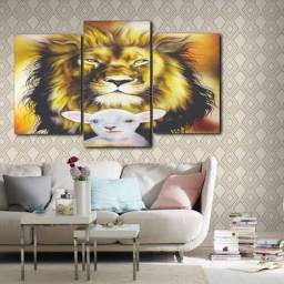 Quadro Decorativo Leão e ovelha