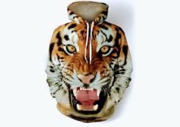 Capote Moletom Frio Inverno 3D estampa Tigre com Bolso canguru