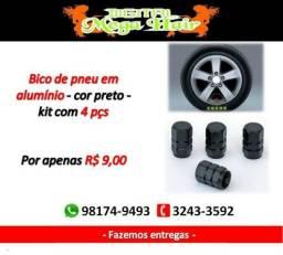 Bico de pneu em aluminio na cor preto.contem 4 peças