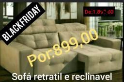 Sofa 3 lug retratil e reclinavel(impedovel