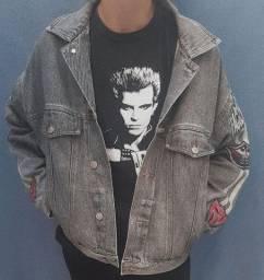 Jaqueta jeans vintage retrô 90s Faccenova, tam M