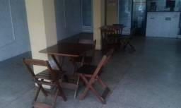Mesa Com 4 Cadeiras De Madeira Dobravel 70x70 I- Bar E Restaurante - Imbuia