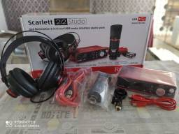 Kit Home Studio Scarlett Focusrite 2i2 2a geração