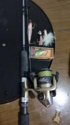 Kit pesca Esportiva Vara, Molinete e iscas