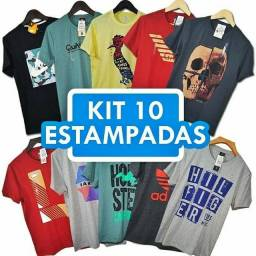 Kit com 10 camisetas masculinas no Atacado<br><br>