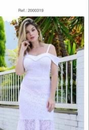 Vestido branco midi tamanho M novo!