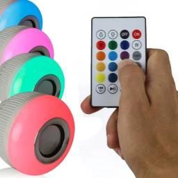 Lampada Led Caixa Som Bluetooth + Controle