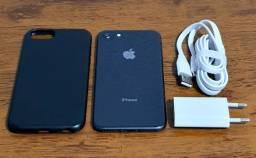 Iphone 8 64gb cartão 4x sem juros carregador capa aceito celular como pagto