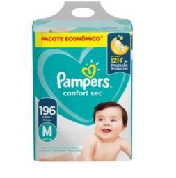 Fraldas Pampers Confort Sec M 196 unidades