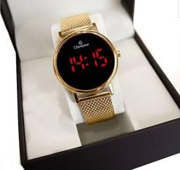 Relógio Champion dourado digital