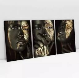 As Negras com dourado Gold and Black Quadro decorativo em canvas