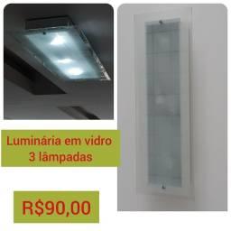 Luminária em vidro 3 lâmpadas