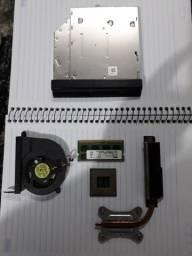 Peças notebook, processador, memória ram, gaveta cd/dvd.