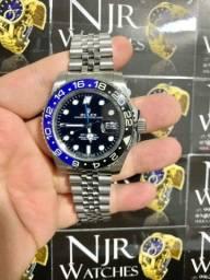 Relógio Rolex gmt prata fundo preto automático novo