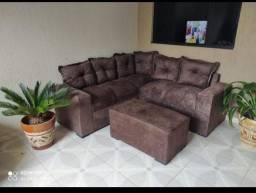 mega promoção sofá de canto com puff