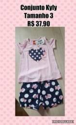 7fcf1a6669a48 Conjunto da Kyly Feminino Blusinha e Shorts - Tamanho 03 - R  37.90