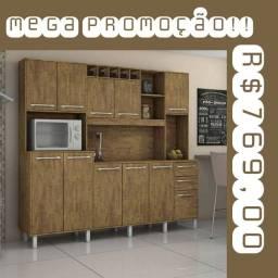 Cozinha completa Petra marrom SUPER PROMOÇÃO