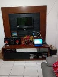 Vendo painel de tv com rack em madeira usado