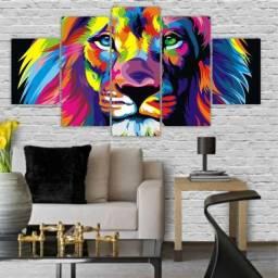 Quadros Decorativos Mosaico Leão Colorido 115x60cm