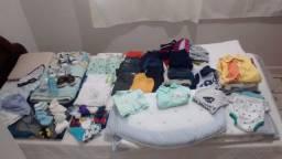 Kit combo de roupas com kit berço para bebê menino com 88 peças diveras