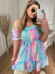 Vestido Rosa Tie Dye Ombro A Ombro Com Babado Tam 40