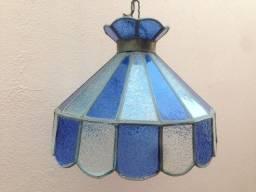 Antiguidade / Lustre Vitral Azul / 38 Cm Diâmetro x 30 Cm Altura