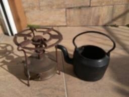 Chaleira de ferro + fogareiro Gassol