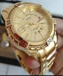Relógio dourado aço inoxidável banho em ouro 18 k promoção 200 zap *06