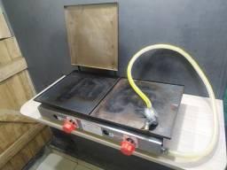Chapa de lanche a gás para hambúrguer lanchonete etc... registro e mangueira de brinde