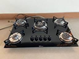 Fogão cooktop a gás Fischer 5 bocas preto  68.5cm x 46cm