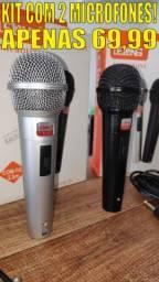 Kit com 2 Microfones Profissionais P10 com Esfera em Metal e Cabo 2.5 Metros