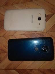 Dois celulares um com o display queimado e o Samsung apenas com problema na bateria