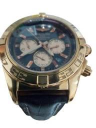 Relogio Breitling Cronometre Preto Cronos Beges Caixa Dourada Pulseira Preta