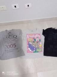 Tenho 18 camiseta tamanho p/ m semi nova tudo por 80 reais