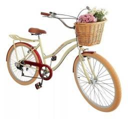 Bicicleta retrô aro 26 com 6 marchas cesta vime e bagageiro nova