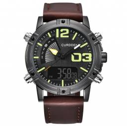 47021a911e9 Novo Relógio Curdden de Couro Dual Time Digital e Analógico 100% Novo e  Original