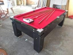 Mesa de Sinuca Gaveta Preta Tecido Vermelho Modelo GAV1198