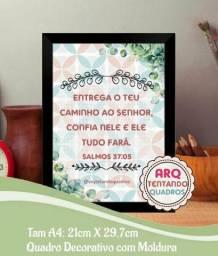 Quadro Decorativo com Moldura - versículo bíblico 4-Tam:A4